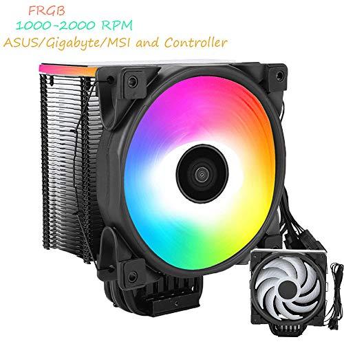 Topiky CPU-koelventilator, computer CPU luchtkoeler koeler stille ventilator 5 koellichaam met RGB LED-licht voor Intel i5 i7
