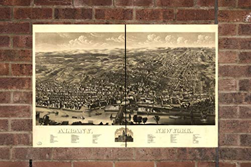 Vintage Albany Print, Aerial Albany Photo, Vintage Albany NY Pic, Old Albany Photo, Albany New York Poster, 1879 24x36