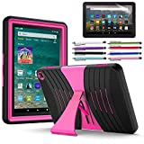 EpicGadget Case for Amazon Fire HD 8 / Fire HD 8 Plus (10th Generation, 2020 Released) - Heavy Duty Hybrid Case Cover with Kickstand + 1 Screen Protector and 1 Stylus (Black/Pink)