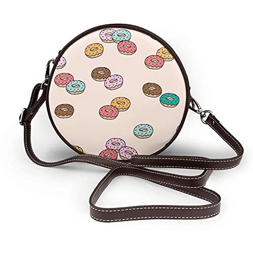 fepeng Pequeño bolso de hombro en forma redonda Donuts Circular Crossbody Bag Bolsas de hombro de cuero de microfibra, café, Talla única