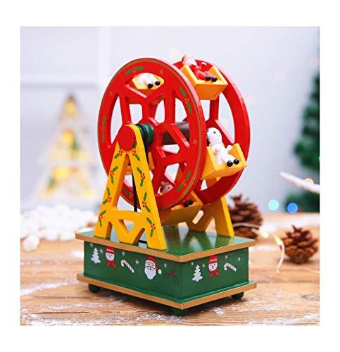 Kunze Madera giratoria del rbol de Navidad Caja de msica Noria (Color : Red)