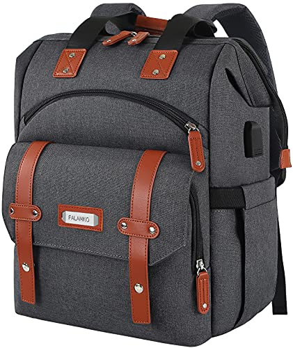 Travel Laptop Backpack, Doctor Teacher Work RFID Anti Theft Durable Laptops Backpack with USB Charging Port, Water Resistant Wide Open College School Computer Bag for Men Women Fits 15.6 Inch Notebook