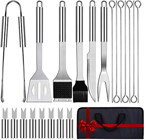 Love begans 21 PCS BBQ Grillbesteck Tool Set, Tragbar Edelstahl Grillbesteck Set Grillkoffer Grillzubehör für Männer
