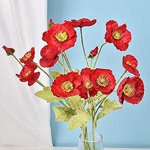 RNSUNH 12Pcs Artificial Poppies Flowers 11.4inch Silk Poppies Artificial Flowers with 4 Blossoms, Floral Picks for Flower Arrangements Wedding Home Party Decor