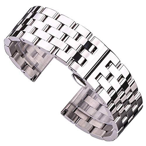 WNFYES Correa de Metal Correa de Las Mujeres despliegue Hebilla de Correa de Acero Inoxidable Macizo y Hombres Pulsera Relojes Correas (Band Color : Silver, Band Width : 24mm)