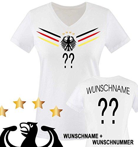 Comedy Shirts - Deutschland WM 2014 - Wunsch - Damen V-Neck T-Shirt - Weiss/Schwarz-Rot-Gelb Gr. L