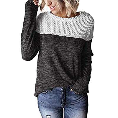 Amazon - Save 60%: FIYOTE Womens Long Sleeve Lace Color Block T Shirt Crew Neck Causal T…