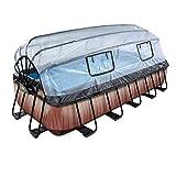 EXIT Wood Pool 540x250x100cm mit Abdeckung und Sandfilterpumpe - braun