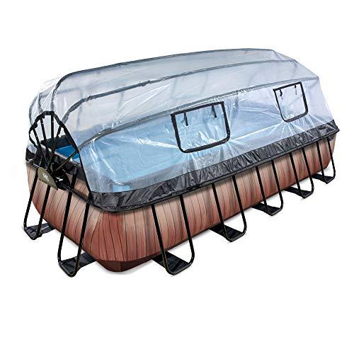 EXIT Wood Pool 540x250x100cm mit Abdeckung und Sandfilter- und Wärmepumpe - braun