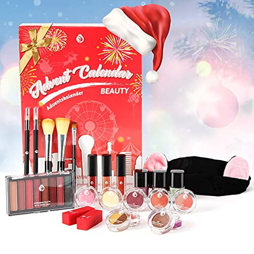 Aifanciey Calendrier de l'Avent 2021, Coffret Maquillage, 24 Produits Cosmétiques, Soin de la Peau et Beauté pour Nouvel An, Noël, Superbe pour Filles/Femmes/Mères