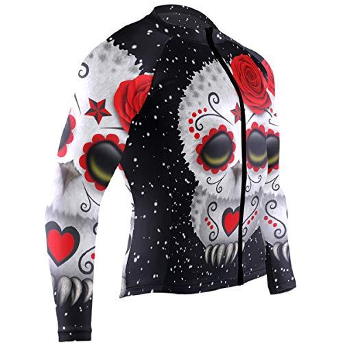 Mens Cycling Jersey Sugar Skull Owl Rose Biking Bicycle Jersey Shirt
