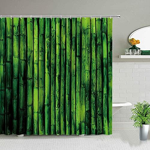 XCBN Green Bamboo Series Duschvorhang Set Wasserdicht Home Badezimmer Dekor Gardinen mit Haken Beliebte Badzubehör A15 90x180cm