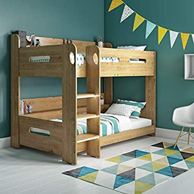 Sky Single Wooden Bunk Bed in Oak - Ladder Can Be Fitted Either Side!