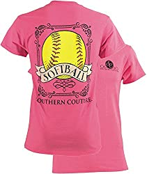 Southern Couture Womens Classic Vintage Softball Short-Sleeve Tee Shirt