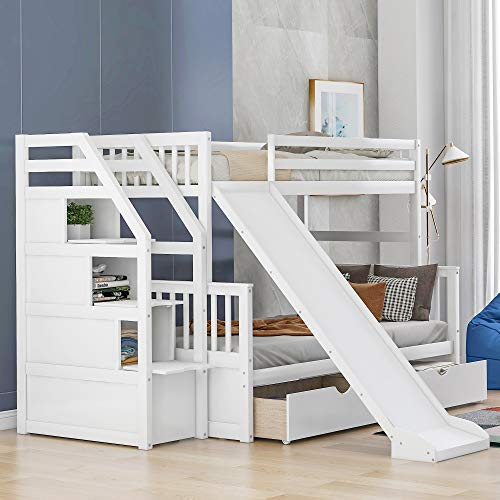 Merax Twin Over Full Bunk Bed with Drawers, Storage and Slide, Multifunction Wood Loft Bed for Kids, Adults, Can be Divided into Two Beds (White)