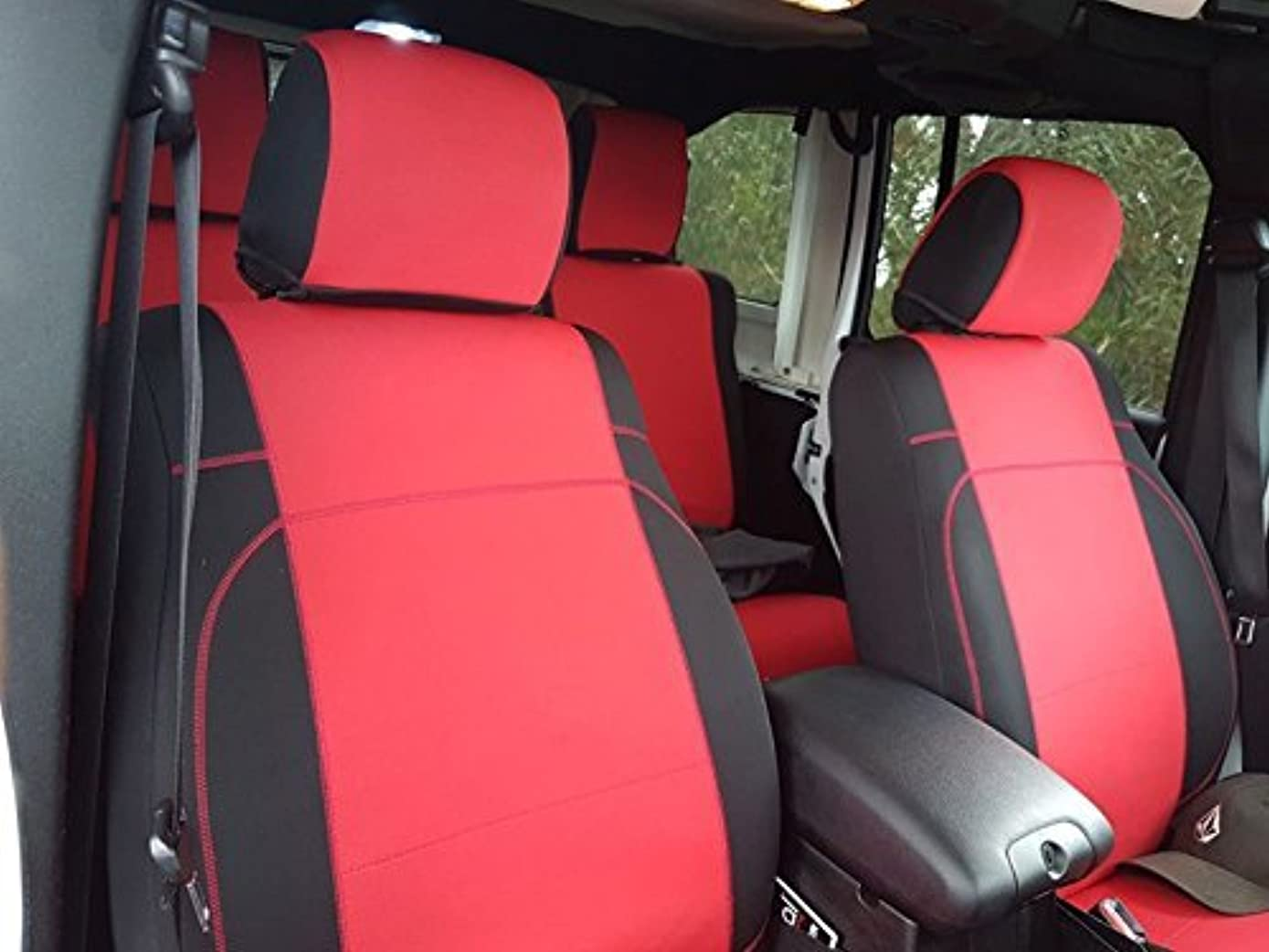 GEARFLAG Neoprene Seat Cover Custom fits Jeep Wrangler JK 2/4 Doors 2007-17 with no Side airbag (Front Pair Seats only) (Red/Black)