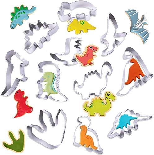 Dinosaurier Ausstechformen Set,Dino Keksausstecher Groß,Dinosaurier Ausstechformen,Ausstecher Brot Kinder,Plätzchenausstecher Weihnachten Set,Ausstechformen Set,Ausstecher Plätzchen (11pcs)