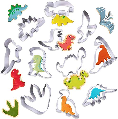 Cortadores Galletas Dinosaurio,Moldes de Dinosaurios para Pastel,Moldes para Galletas de Dinosaurio,Moldes Galletas Infantiles,Dinosaurio Molde,Juego de Cortadores Galletas