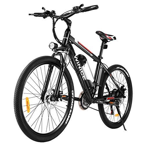 Vivi E-Bike Elektrofahrrad Mountainbike, 26 Zoll Elektrisches Fahrrad 350W Ebike mit Abnehmbarer 36V 8Ah Lithium-Batterie, Shimano 21-Gang (26 Zoll Schwarz- 8AH)
