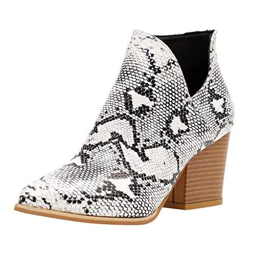 Fannyfuny Zapatos Mujeres Casuales Botas Mujer Tacones Vintage Grueso Zapatos de Botines Chelsea Señora de Serpiente Calzado de Botas Martin Comodos Fiesta Talla Grande