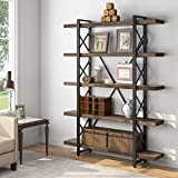 Tribesigns Solid Wood 5-Shelf Industrial Style Bookcase and Book Shelves, Metal and Wood Free Vintage Bookshelfs, Retro Brown (5 Tier)
