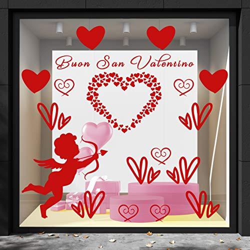 Cristalería San Valentín-decoración vitrina-DCUori y cubo rojo temas y fantasía San Valentín
