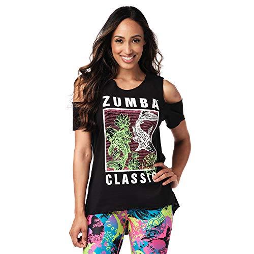 Zumba Active Workout Cold Shoulder Tops para mujer Diseño de impresión de moda camiseta - negro - Medium