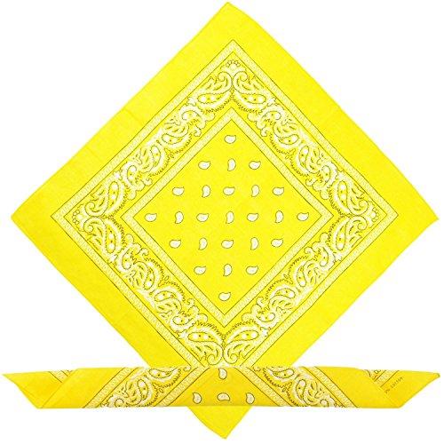 Boolavard Bandana Kopftuch Halstuch - gemustert: Paisley Muster - 100{fcee0d51c963859f5e7c20dd9ecfc01f62956f30e3164b27fe1679612bfdbb76} Baumwolle! (Gelb)