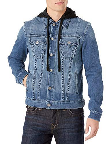 Mens Wave Hunter Denim Jean Trucker Jacket With Hood