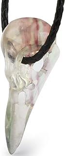 قلادة سكالوليس من الفلوريت منقوشة كريستال الغراب قلادة الجمجمة ، للرجال والنساء. مجوهرات الجمجمة. 1079