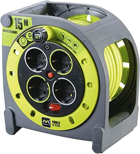Masterplug Pro-XT - Extensión eléctrica con carrete de cable y toma múltiple x4, 15m