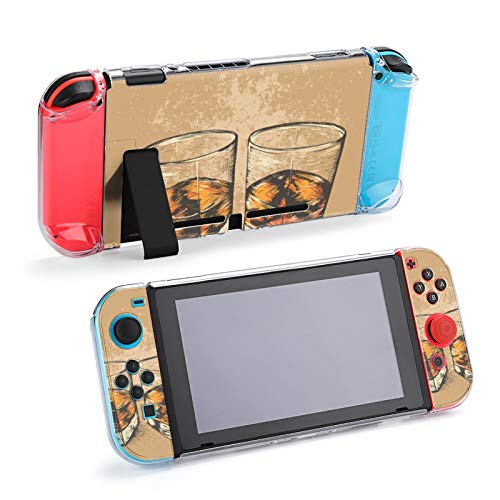 Whiskey in Two Glasses Case Dockable Protective Case Cover for Nintendo Switch and Joy-Con Controller