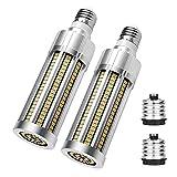 YDHNB Bombillas LED Maíz E27 AC 110-277V 25W Equivalente a Lámpara Halógena de 250W, E27 Edison Tornillo Ahorro de Energía Bombilla con Adaptador E40 (2 Piezas),Warm White 3000k