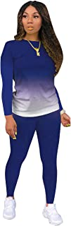 Womens Two Piece Outfits Casual Long Sleeve Splicing T-Shirt+Bodycon Pants Sweatsuits Tracksuit Sportswear Set (Blue, L)