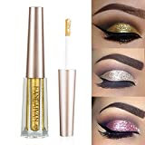 Turelifes Diamond Glitter Liquid Eyeshadow & Eyeliner Pen Starry Paillettes Mermaid Eye Shadow Long Lasting Shiny e pigmentato impermeabile Shimmer scintillante Occhi trucco (# 2 Scuro Oro)