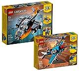 Collectix Lego Set – Lego Creator Cyber-Drone (31111) + Avión de hélice Lego Creator (31099), set de regalo a partir de 6 años