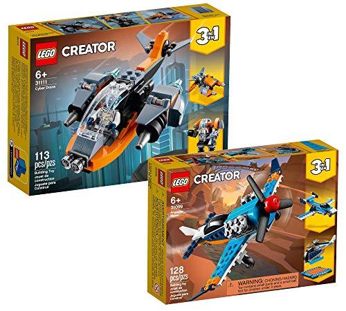 Collectix Lego Set - Lego Creator Cyber-Drohne (31111) + Lego Creator Propellerflugzeug (31099), Geschenkset ab 6 Jahren