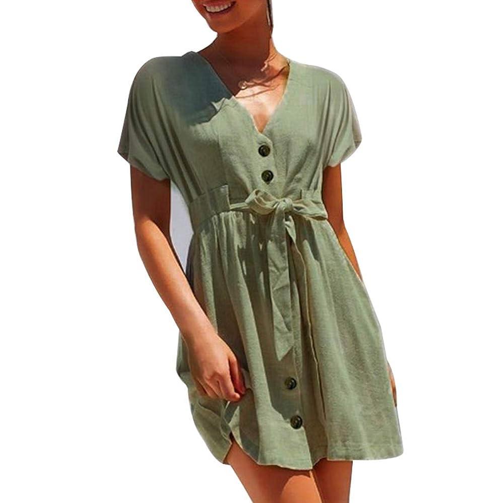 通信網標高咳YOYOKUN 女性 Vネック ワンピース 半袖 ボタン 装飾 ちょう結び ハイウエスト ドレス 夏用 大人 きれいめ ワンピース 快適 ゆったりシンプル 体型カバー