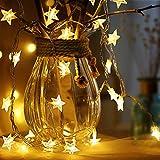 Sterne Lichterketten, 6M 40Pcs LED Batteriebetriebene Lichterketten, Decoration Lightning für Valentinstag Weihnachten Hochzeit Geburtstag Holiday Party Schlafzimmer Indoor & Outdoor (Warm White)