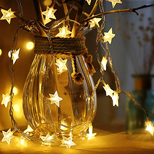 Sterne Lichterketten, 6M 40Pcs LED Batteriebetriebene Lichterketten, Decoration Lightning für Valentinstag Weihnachten Hochzeit Geburtstag Holiday Party Schlafzimmer Indoor & Outdoor (Warm White)