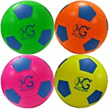 Macro Giant 6 Inch (Diameter) Safe Soft Foam Soccer, Set of 4, Neon Colors, Training, Practice, Playground Ball, Kid Sports Toys, Kickball, Toy Gift, Birthday Gift, Physical Education Exercise
