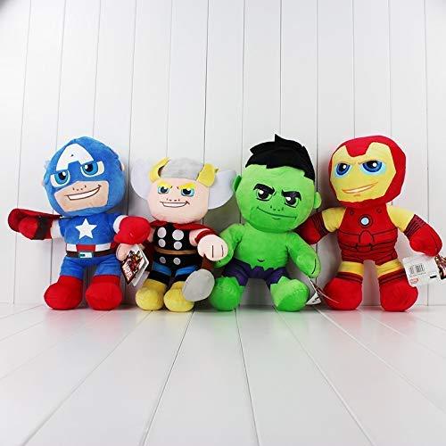 JIAL Stofftier 35cm 4st. / Set Avengers Plüsch Grün Hulk Thor Captain Iron Man Puppe Weiches Stofftier Chongxiang