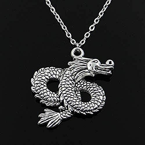 WYDSFWL Collar China Loong Dragon Colgante Cadena Cruzada Redonda Breve Largo Hombres Señoras Collar de Plata Regalo de la joyería 60cm Longitud