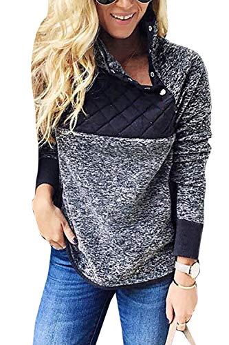 Vosujotis Donne Fluffy Sweatshirts Lunga Sleves Obique Pulsante Colla Vello Pullover Blu XL