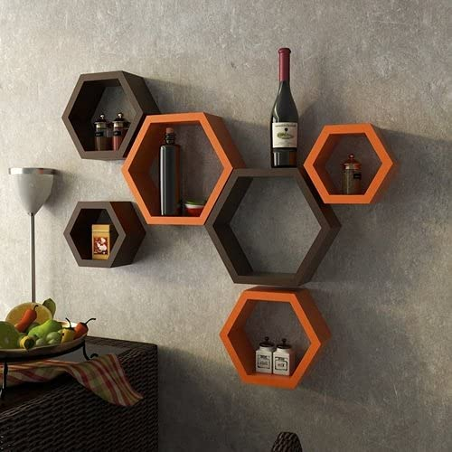 Furniture Cafe Hexagon Wall Shelves Wooden Shelf Home Decor Items Rack for Living Room, Bedroom, Kitchen Corner, Offi...