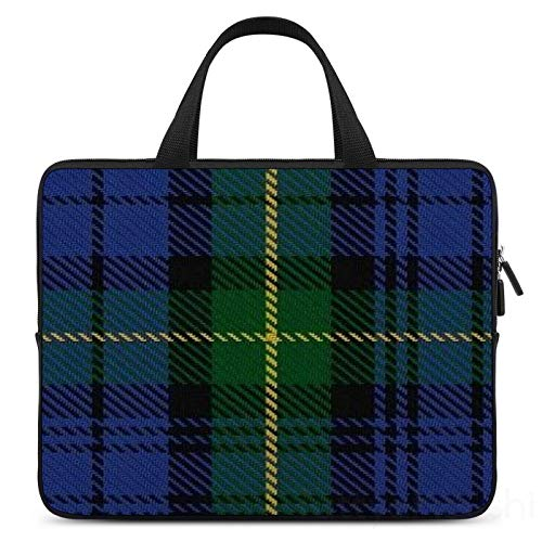 17 Inch Laptop Sleeve Scottish House Of Gordon Blue Green Clan Tartan Case/Water-Resistant Notebook Computer Pocket Tablet Briefcase Carrying Bag/Pouch Skin Cover For Acer/Asus/Dell/Lenovo