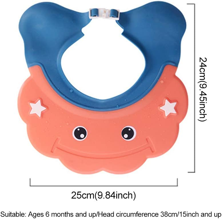 Denpetec Shower Cap for Kids, Bath Wash Hair Hat Cap for Eyes Ears and Face Adjustable Baby Shampoo Caps Shield for Toddlers