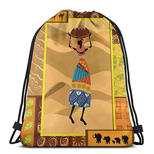 Odelia Palmer Mochilas Estampadas con cordón, Motivos ornamentados inspirados en la Naturaleza, remolinos, Camellos, Elefante, Elegante Dama con Jarra, Cierre de Cuerda Ajustable
