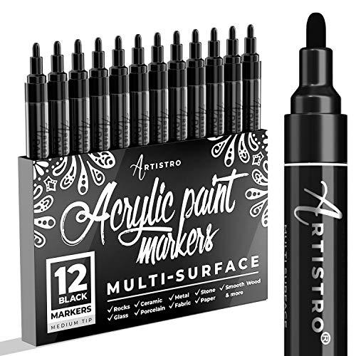 Marqueur peinture noire pour bois, verre, toile, rochers, tissu. Lot de 12 marqueurs noirs pour peinture acrylique à pointe moyenne