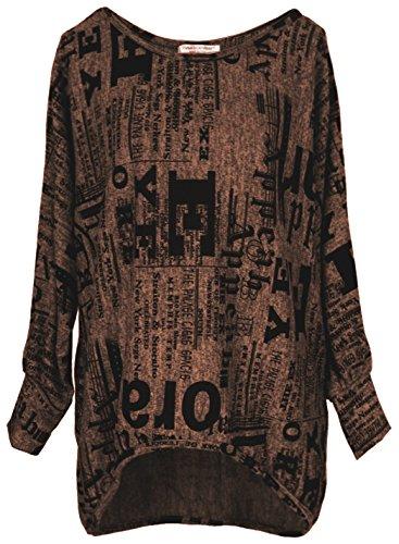 Emma und Giovanni - Oversize Langarmshirt/Pullover- Damen (XL, Braun)